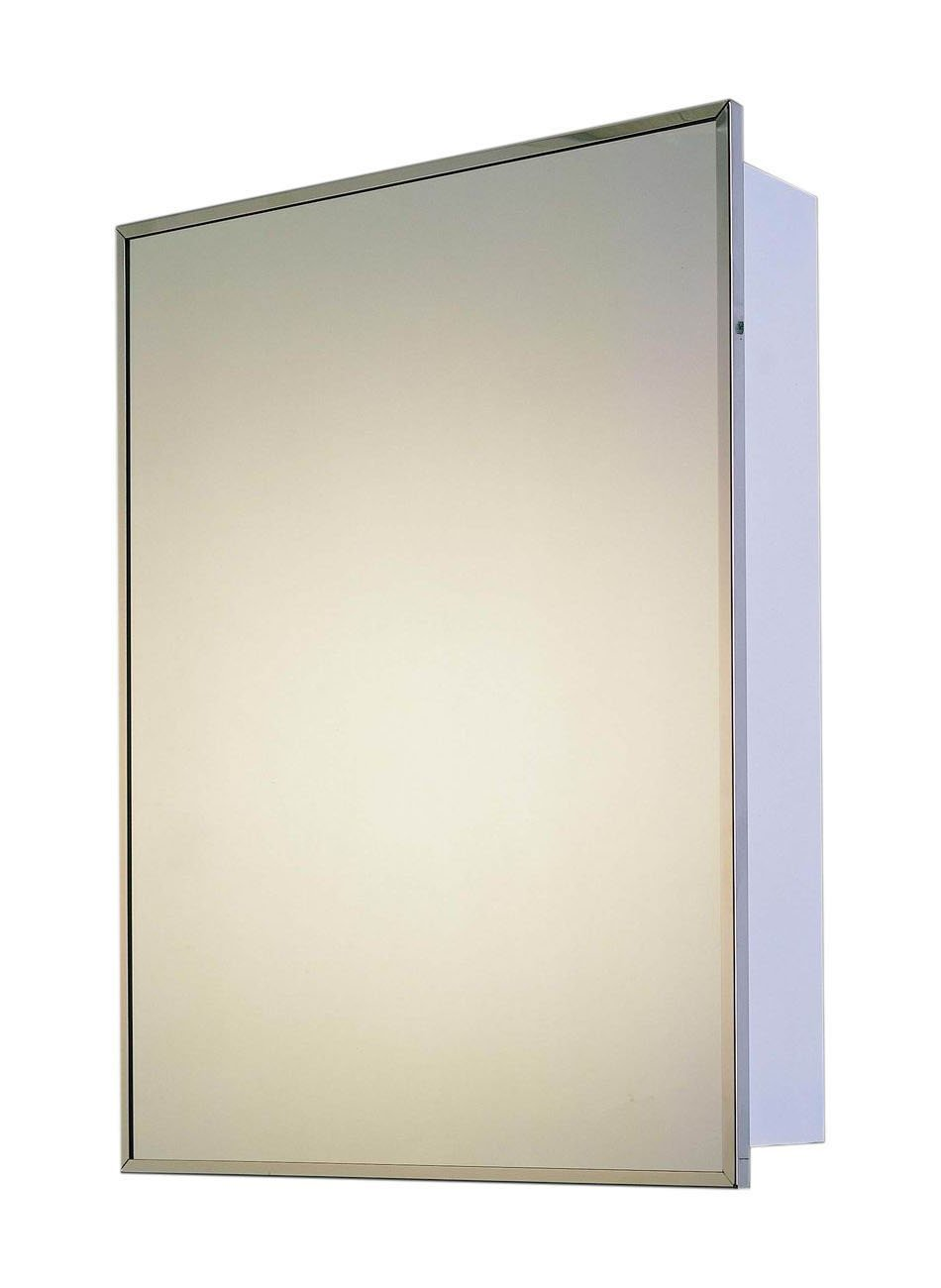 "ketcham Cabinets Deluxe Series Recessed Mounted Stainless Steel Framed Single Door Medicine Cabinet - 14""x20"" - Overall Size: 14"" W x 20"" H x 4-5/8"" D Glass Shelves: 2. Wall Opening: 12"" W x 18"" H x 3"" D Full length piano hinge. Cabinets can be inverted for right or left swing installation - shelves-cabinets, bathroom-fixtures-hardware, bathroom - 51yzFmaP5UL -"