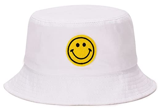 49214f364bf ChezAbbey Unisex Wide Brim Smile Face Pattern Sun Protection Funky ...