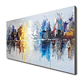 Hand Painted Cityscape Modern Oil Painting on
