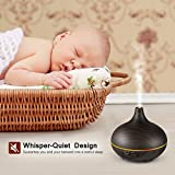 VicTsing 150ml Mini Aroma Essential Oil Diffuser, Wood Grain Cool Mist Humidifier for Office Home Study Yoga Spa, 14 Color Lights(Dark Brown) Variant Image
