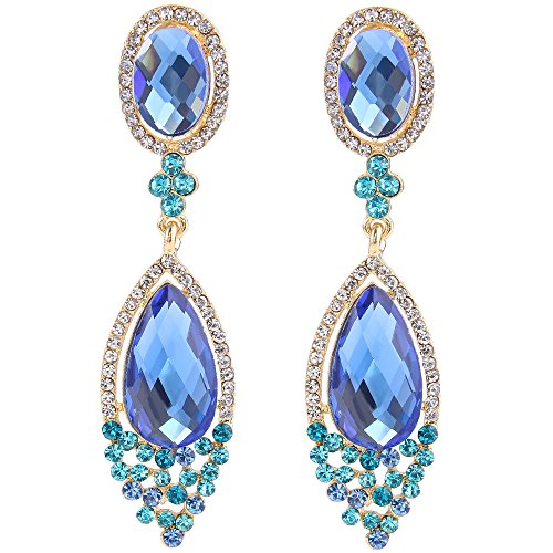 (BriLove Women's Wedding Bridal Clip-On Dangle Earrings with Infinity Figure 8 Crystal Teardrop Chandelier Gold-Toned Light Sapphire Color)