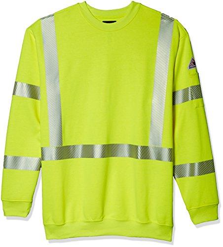 Bulwark Men's Big Hi-Visibility Crewneck Fleece Sweatshirt, Yellow/Green, X-Large/Tall