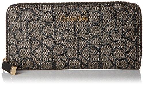 Calvin Klein Monogram Zip Continental Wallet, Textured Khaki/Black/Black, One Size