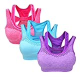 Yolev Sports Bra Double Layer Seamless Workout and Gym Racerback Yoga Bra Pack of 8