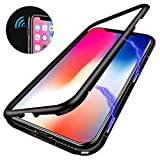 iPhone X Magnetic Adsorption Case,Clear Tempered Glass Hard Back Cover With Built-In Magnets Metal Bumper Frame Support Wireless Charge,360° Full Protection Ultra Slim Shockproof Case [Clear Black]