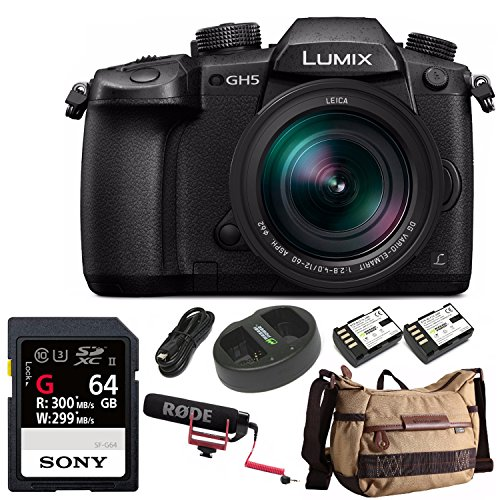 Panasonic LUMIX GH5 4K Mirrorless Camera w/Lecia 12-60mm (DC-GH5LK) w/64GB UHS-II + VideoMic Go + Havana Bag