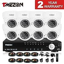 TMEZON 8CH AHD 1080N CCTV Cameras Surveillance Security Camera System 2.0MP Night Vision Outdoor 2.8mm-12mm Zoom Lens AHD Camera