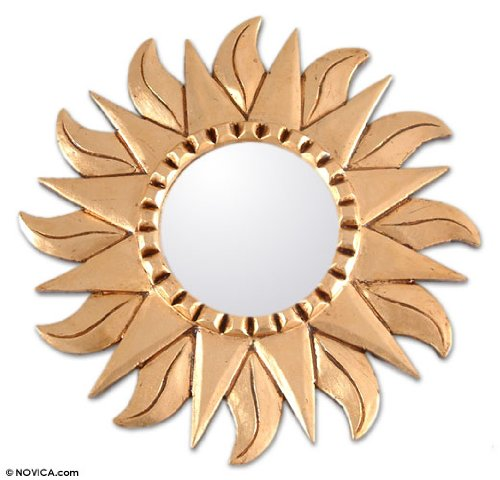 Novica Sun And Moon Leaf Mohena Wood And Bronze Wall