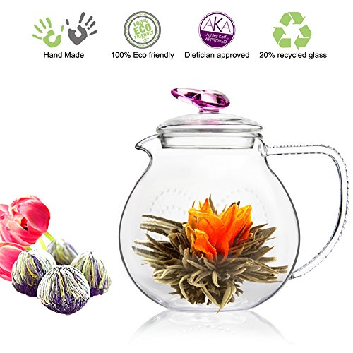 Tea Beyond Tea Set Teapot and Flowering Tea Set (34 oz Pink Detox 4tcs)