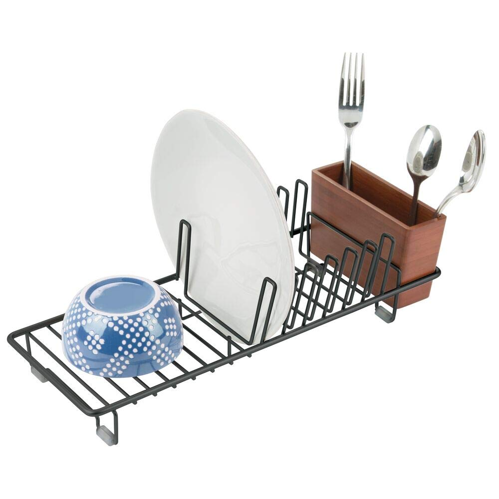 mDesign Compact Modern Kitchen Countertop, Sink Dish Drying Rack, Removable Cutlery Tray - Drain and Dry Wine Glasses, Bowls and Dishes - Metal Wire Drainer in Black with Cherry Bamboo Caddy
