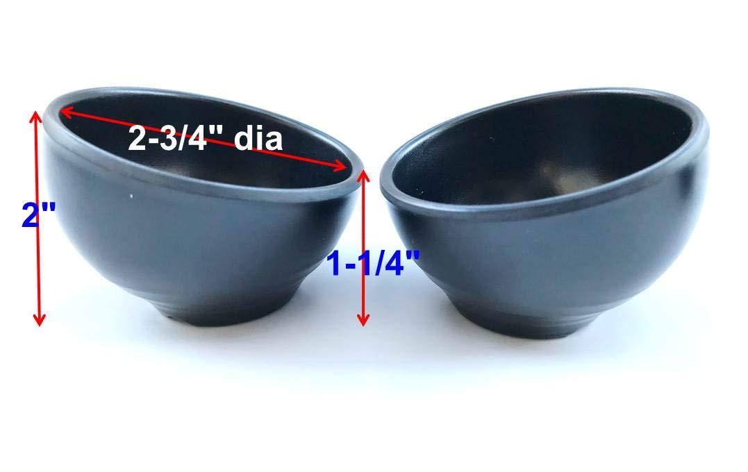 Lucky Star Melamine Round Sauce Paste Dipping Dishes Bowls Wasabi Sushi Sashimi Sake Cups, 2-3/4'' dia. (2 oz), Black (24)