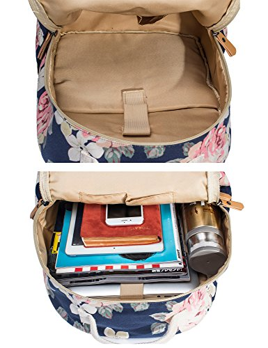 Leaper Floral Water-resistant Laptop Backpack College Bags Daypack Dark Blue by Leaper (Image #6)