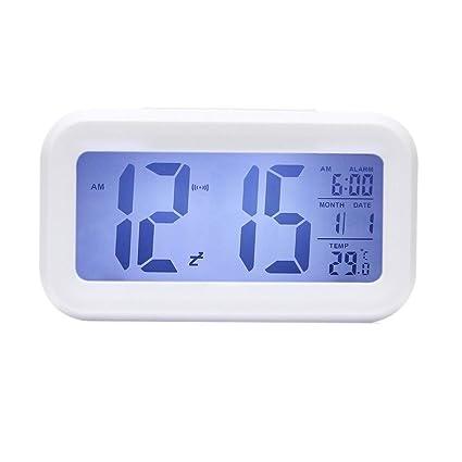 Reloj Digital, ONEVER Slim alarma reloj Digital LED reloj despertador de viaje con el calendario