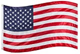 About Ram-Pro 3x5 feet Heavyweight Robert G. Heft design Nylon American Flag. Double-sided, read from both sides Flag comes with thirteen Sewn red & white stripes with Double-Needle Lockstitch with 4 Rows on the Fly Hem. Fifty embroidered tight d...
