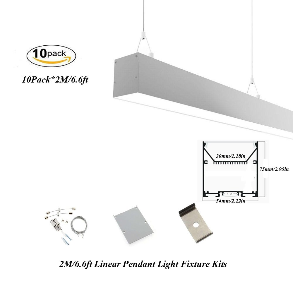 Hanks 10Pack 2M/6.6ft 54x75mm Linear Pendant Light Profile Fixture With Suspension Wires for Home and Office (10x2m Milk)