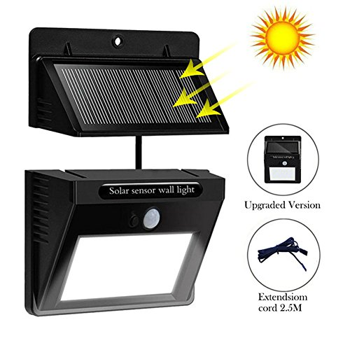 Solar powered led wall light outdoor waterproof security lights pir solar powered led wall light outdoor waterproof security lights pir motion sensor solar wall lamp with separable solar panel and 8ft extension cords for mozeypictures Choice Image