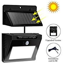 Solar Powered LED Wall Light Outdoor Waterproof Security Lights PIR Motion Sensor Solar Wall Lamp With Separable Solar Panel and 8ft Extension cords for Garden, Patio, Driveway, Deck, Stairs