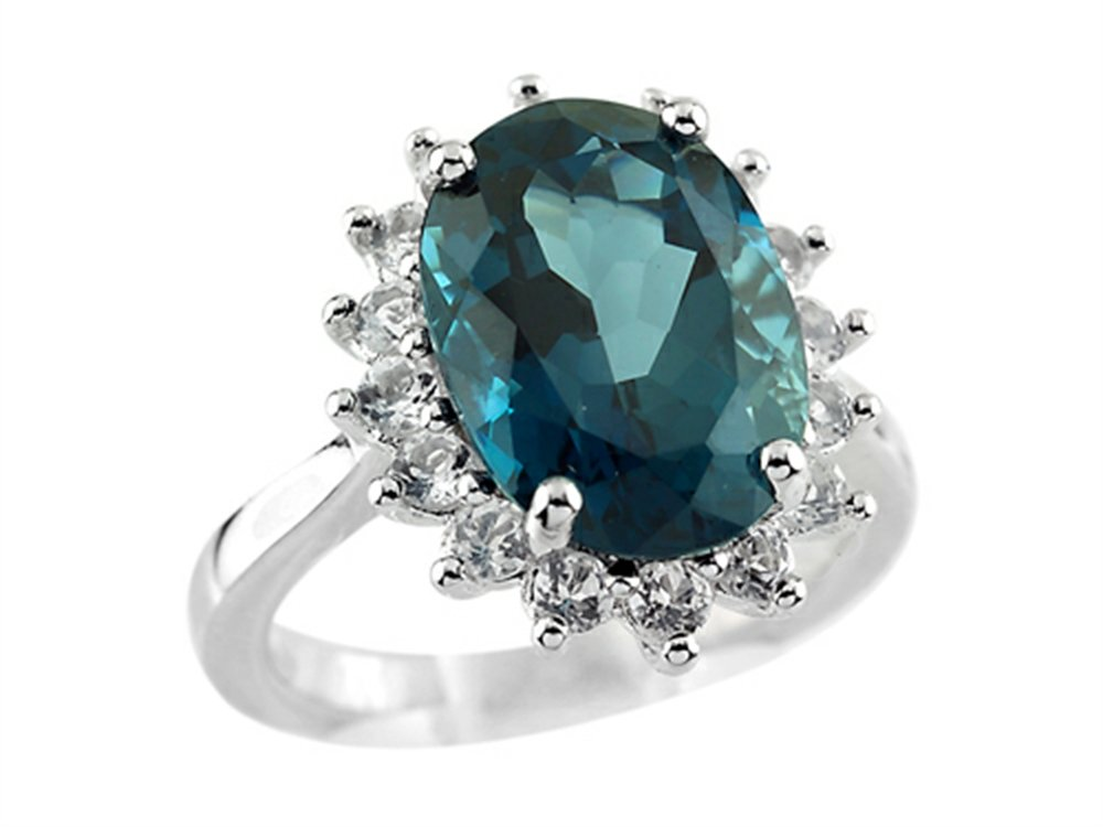 14x10mm Oval London Blue Topaz and White Topaz Ring Sterling Silver Size 6