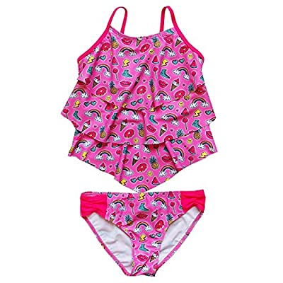 So Sydney Swim Girls' Two Piece Tankini Swimsuit Bathing Suit