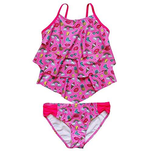 Girls Toddler Piece 2 Tankini (So Sydney Swim Girls' Two Piece Tiered Tankini Swimsuit Bathing Suit (4/5, Emoji Summer Fun))