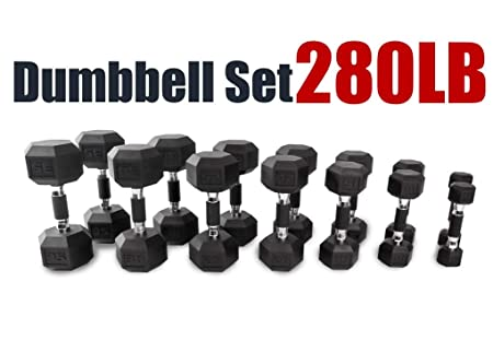 CAP Barbell 150 550 LB PVC-Coated Hex Dumbbell Set Dumbbells Only 280 LB Dumbbell Set with Rack