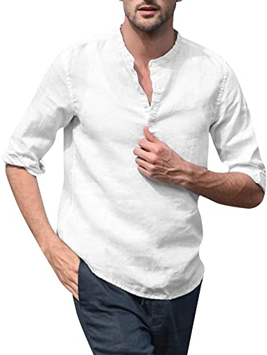 Camisas Hombre Manga Larga LANSKIRT Camisetas Manga Larga Mezcla ...