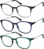 Reading Glasses 3 Pair Stylish Color Readers Fashion Glasses for Reading Men & Women +1.25