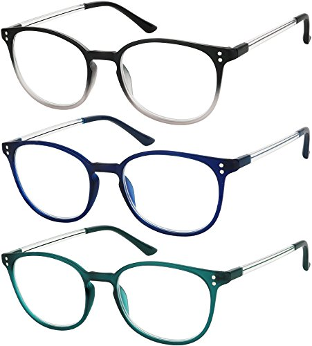 Reading Glasses 3 Pair Stylish Color Readers Fashion Glasses for Reading Men & Women +1.5