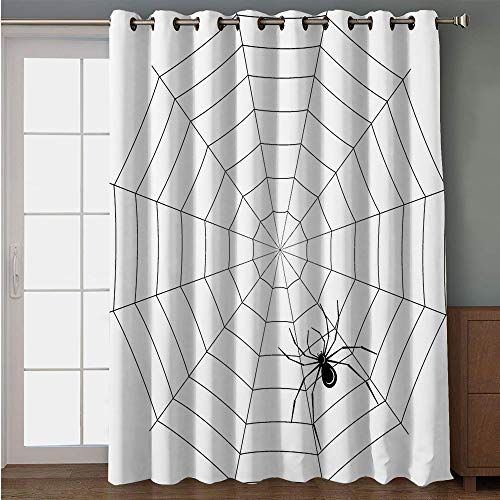 iPrint Blackout Patio Door Curtain,Spider Web,Toxic Poisonous Insect Thread Crawly Malicious Bug Halloween Character Design Decorative,Black White,for Sliding & Patio Doors, 102