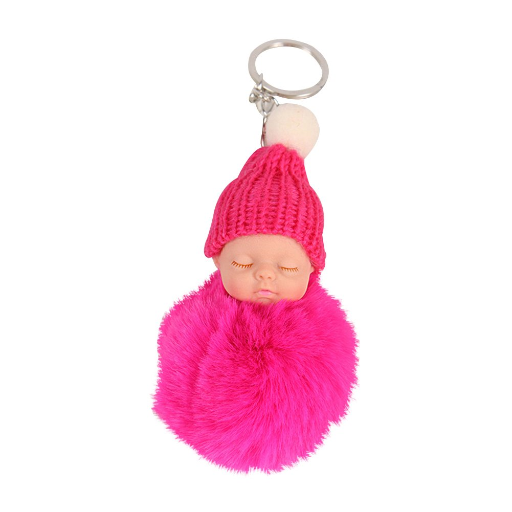 Potato001 Plush Faux Fur Ball Pom Pom Cute Sleeping Baby Handbag Charm Car Keychain (Black) at Amazon Womens Clothing store: