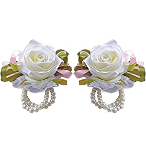 Moleya 2pcs Roses Wedding Silk Flower Corsage with Faux Pearl Bead Wristband for Prom,Party,Wedding 111