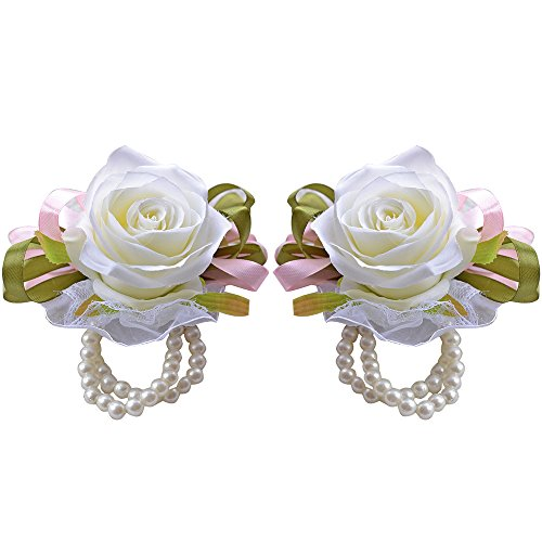 Moleya 2pcs Roses Wedding Wrist Flower Corsage with Faux Pearl Bead Wristband for Prom, Party, Wedding(Ivory)