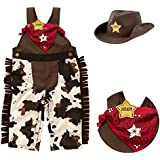 stylesilove Infant Toddler Baby Boy Sheriff Cowboy Overalls, Hat and Handkerchief 3-pc (95/18-24 Months) Brown
