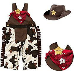 stylesilove Infant Toddler Baby Boy Sheriff Cowboy Overalls, Hat and Handkerchief 3-pc (95/18-24 Months)