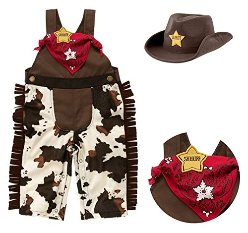 Cowboy Costumes Toddler (StylesILove Infant Toddler Baby Boy Sheriff Cowboy Overalls, Hat and Handkerchief 3-pc (95/18-24 Months))