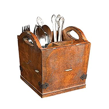 Creative Co-op CG0229 Square Wood Utensil Holder, 7.25-Inch, Brown