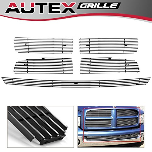 AUTEX Main Upper+Lower Bumper Horizontal Billet Grille Combo Insert Compatible With Dodge Ram 2500 2002 2003 2004 2005 Grill D67998A