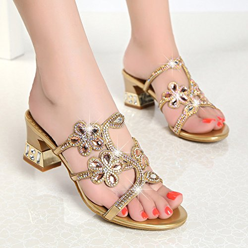 Golden I Crystal Pantofole Diamante Roma con Con Khskx Sandali Semplice Diamond Rude xgqw6HOP