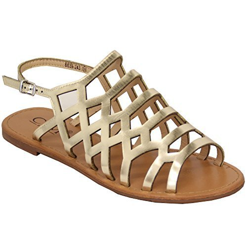 Flat Shoes 8839243 Womens Buckle Gladiator Moda Sandals Estate Open New Ladies Toe Gold twqCR0wx