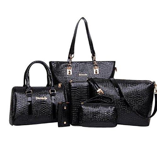 Women's Set Of 6 Bags Include Shoulder Bag Handbag Satchel Bag Mobile Phone Bag Wallet Key Case Black