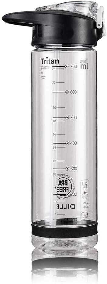 Diller Water Bottle with Straw 25 Oz US Tritan BPA Free Sport Water Bottle with Flip-Flop Lid