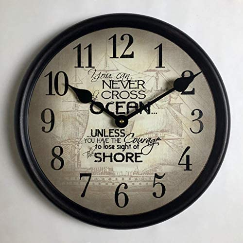 Courage Nautical Wall Clock, Available in 8 Sizes, Most Sizes Ship 2-3 Days, Whisper Quiet.