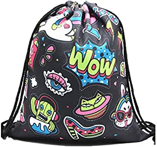 Gym Drawstring Backpack- Lightweight Sport Shoulder Bag Travel Sackpack for Women/Girls (Cute Robot)
