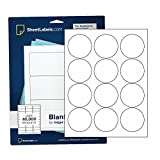 """2.5"""" Round Labels, All Purpose White, Laser or"""