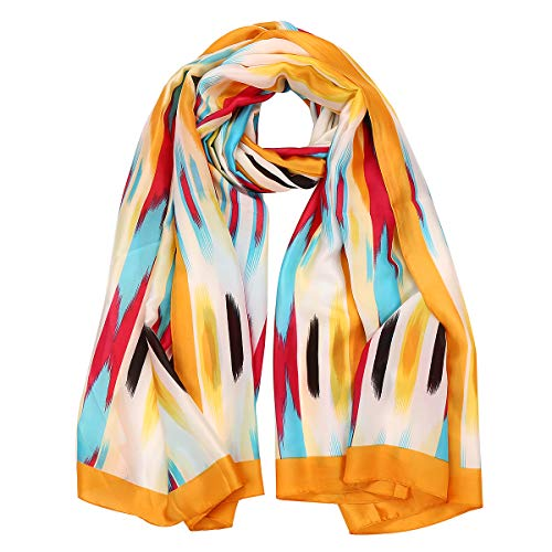 Womens Mulberry Silk Feeling Scarf Long Sunscreen Satin Scarves Fashion Designer Large Lightweight Neck Shawl Headscarf (Yellow - Scarf Long Stripe Silk