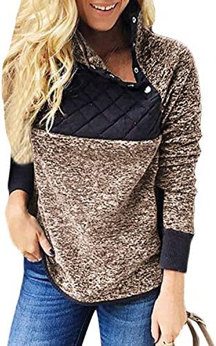 LilyAngel 女性のサイドポケットロングスリーブパッチワークぬいぐるみボタンとスエットシャツ (Color : Coffee, サイズ : 2XL)