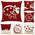 """Sunnyglade 4PCS 18""""x18"""" Christmas Throw Pillow Covers Christmas Decorative Couch Pillow Cases Cotton Linen Pillow Square Cushion Cover for Sofa, Couch, Bed and Car"""