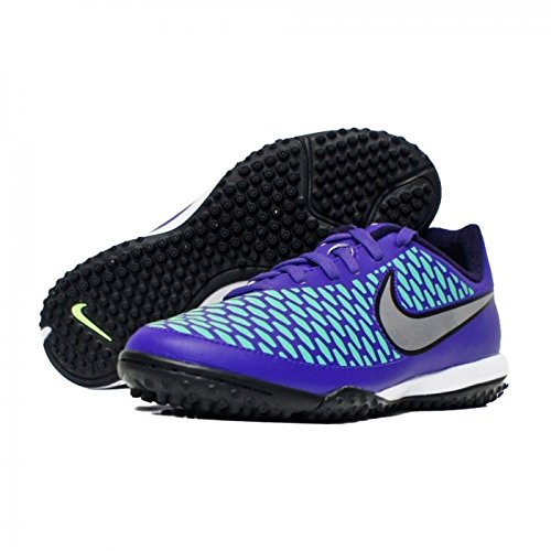 Nike Boys Jr Magista Onda TF Turf Soccer Shoes Hyper Grape/Purple Dynasty/Green Glow/Metallic Silver 4 M US Big Kid