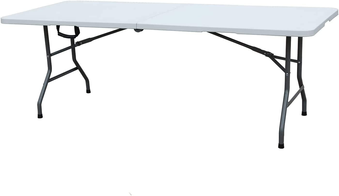 sogesfurniture Folding Table 7.9 ft by 29.1 inches, Fold-in-Half Blow Molded Folding Table, Molded Center-Folding Utiity Table, No Assembly and Easy to Carry, in White, BHUS-HP-240CZ