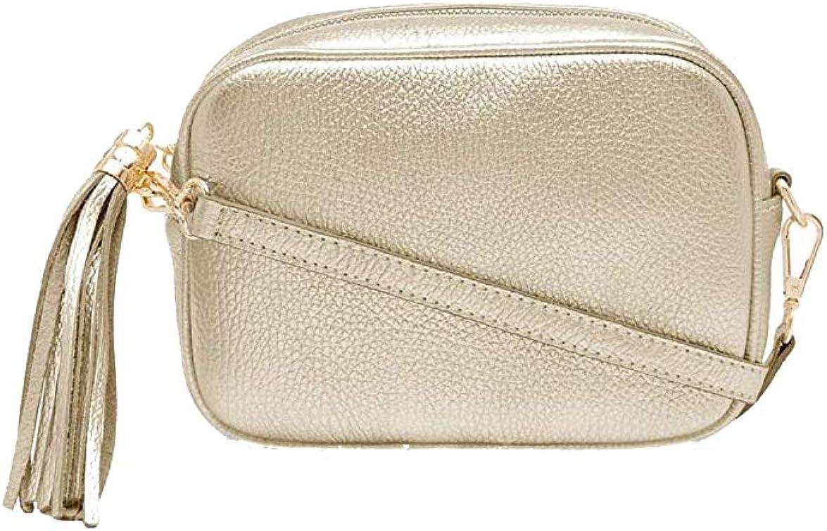 A to Z Leather Bolso con cierre de cremallera con borla Oro